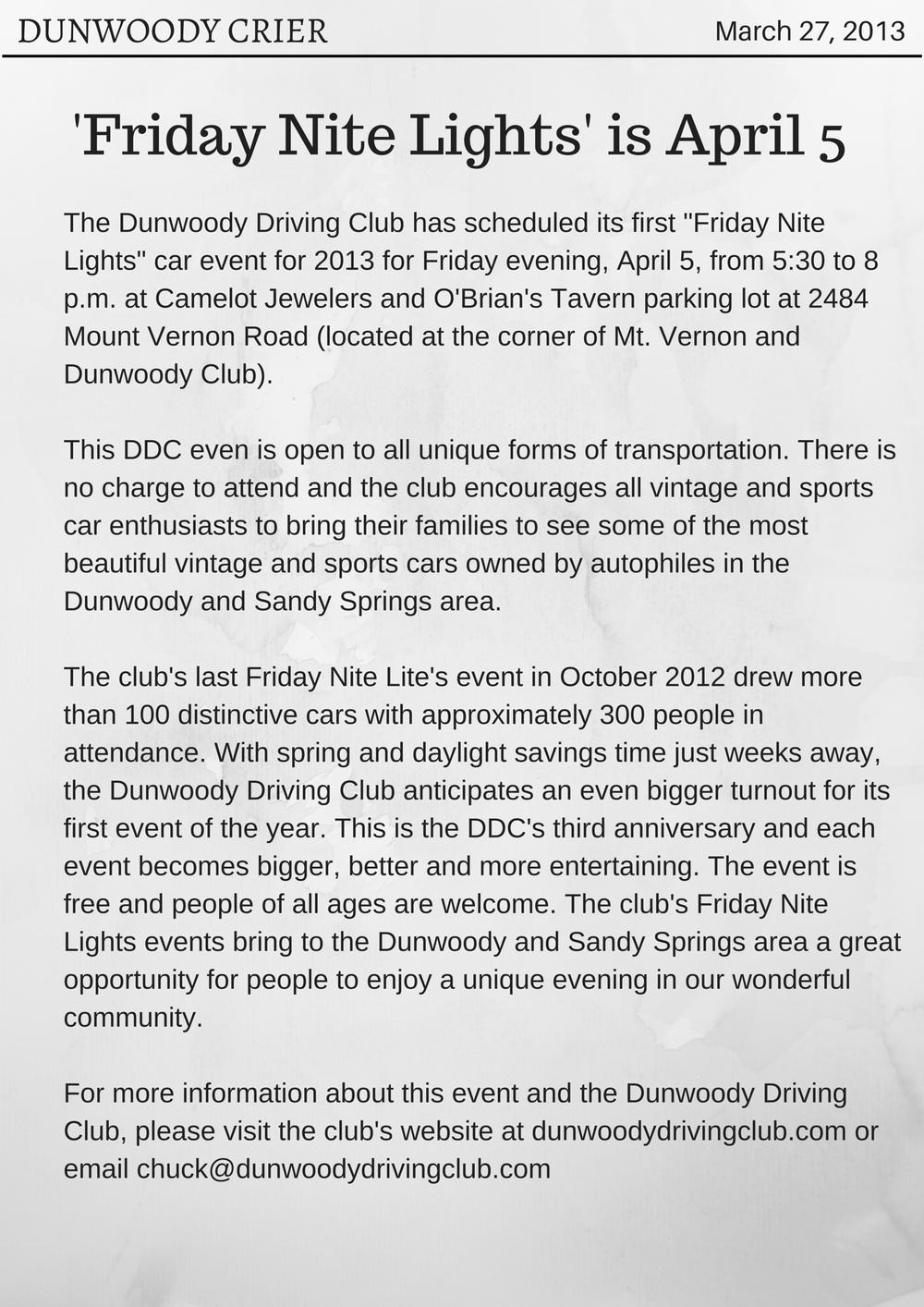 'Friday Nite Lites' is April 5 (Dunwoody Crier).png