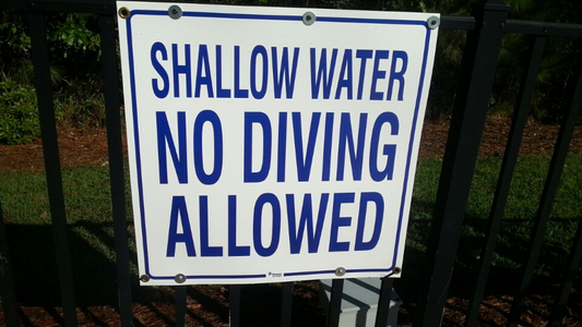 shallow water no diving Linksbrook fence sign.jpg