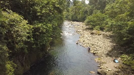 drone view of costa rican river