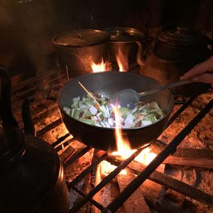 cooking vegetables on open fire stove