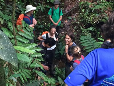 family on ecotour in Costa Rican rainforest