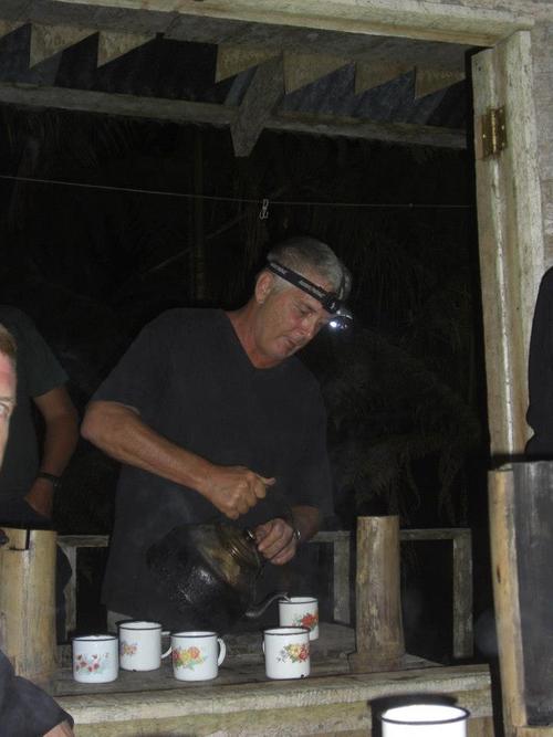 David Vaughan pouring hot chocolate