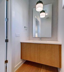 Penny tile powder room