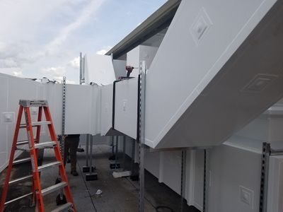 Rectangular insulated ductwork outdoors