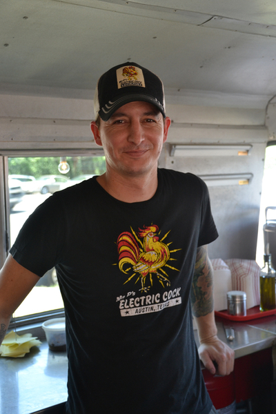 Justin, head chef at Ms P's Electric Cock food trailer in Austin