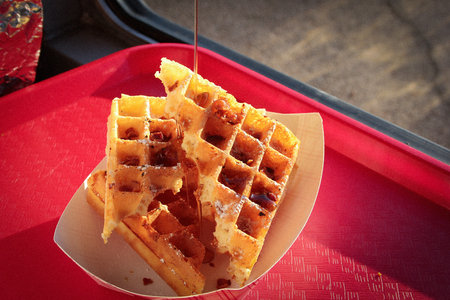 Waffles at Ms P's food trailer in Austin