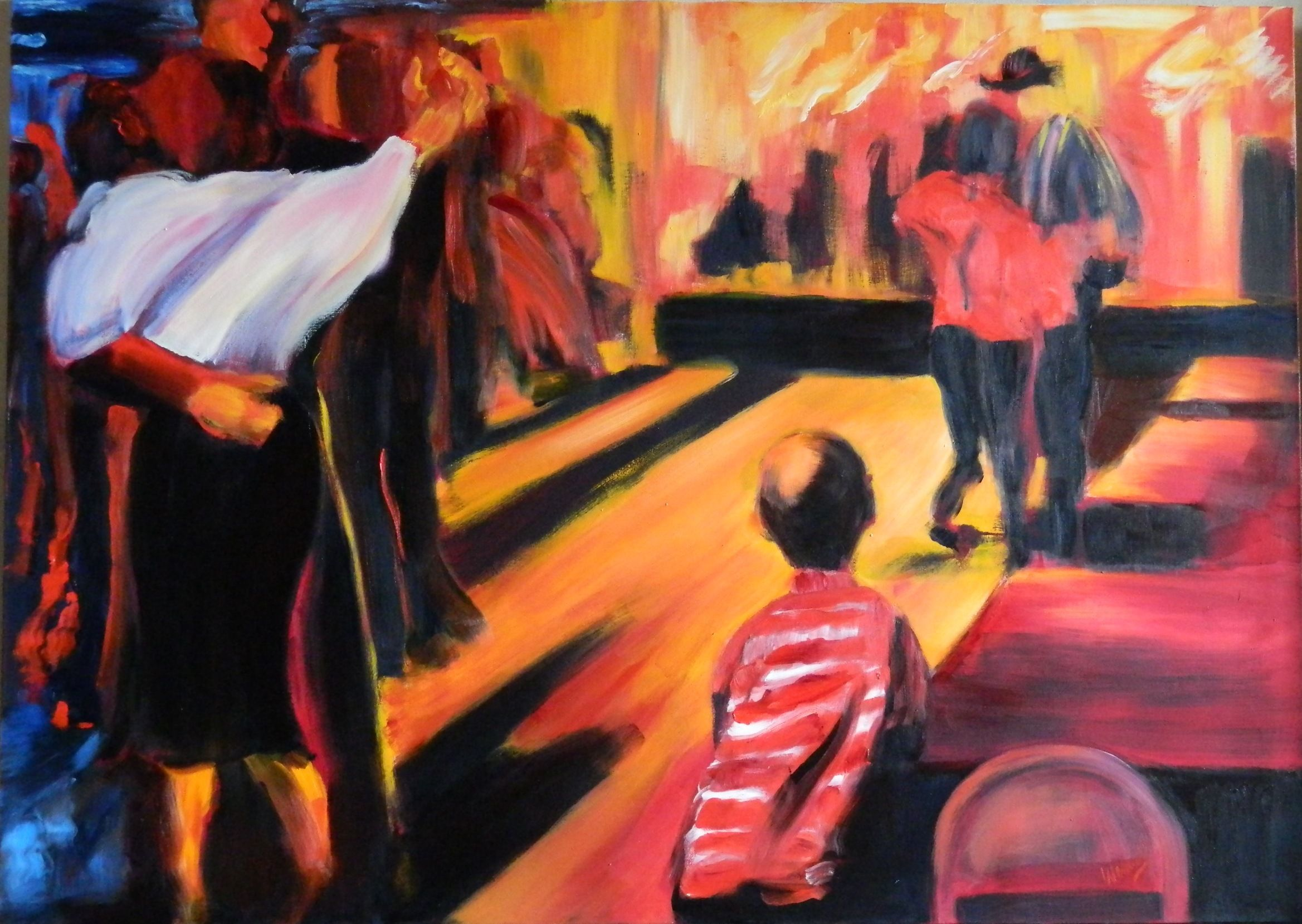 Mustang Hall No. 6, Watching, 60 x 84 in., oil on canvas, $10,000.JPG