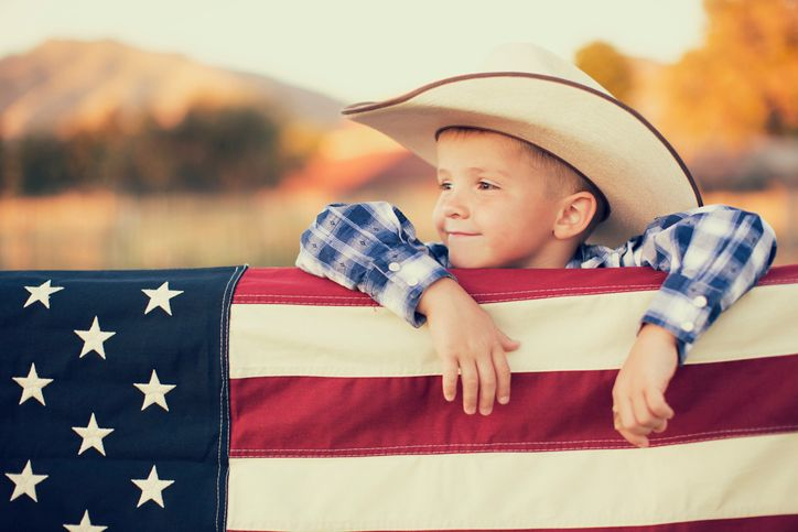 farmers son with flag