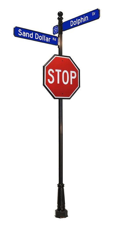 stop sign with ball finial