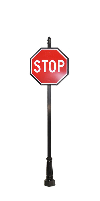 decorative stop sign with acorn finial