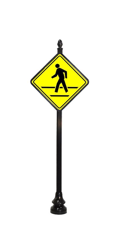 pedestrian crossing sign with acorn finial