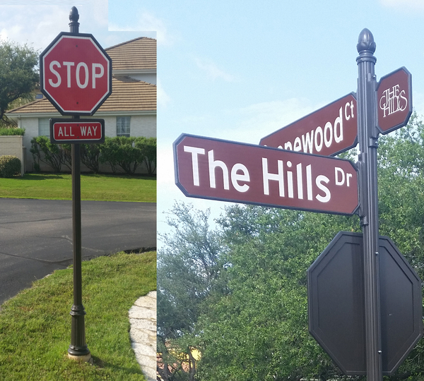 The Hills Neighborhood Street Signs