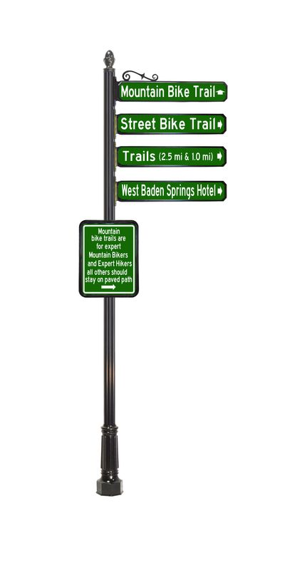 mountain bike trail decorative way finding sign