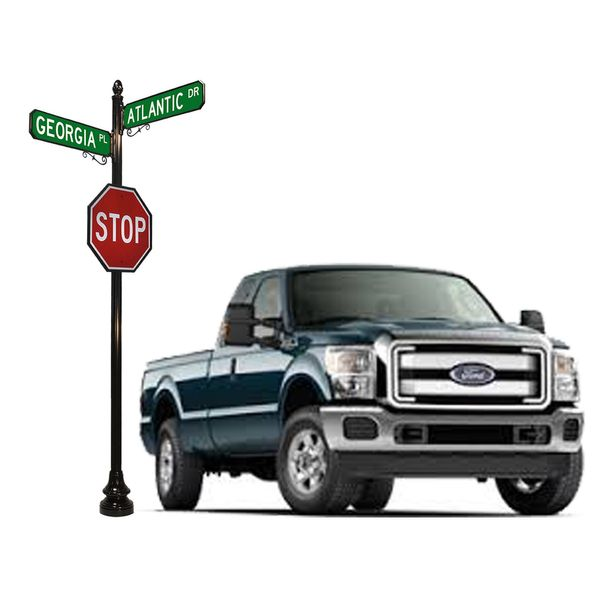 Truck and Street Sign