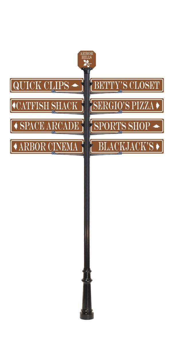 custom directional  sign pole