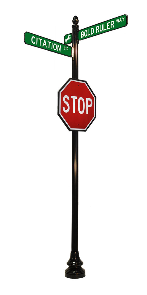 """4' by 14"""" stop sign with acorn finial"""