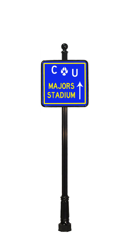 stadium way finding sign with ball finial