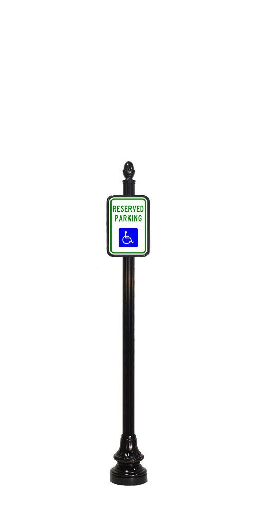 handicap sign on 4 inch wide decorative street sign