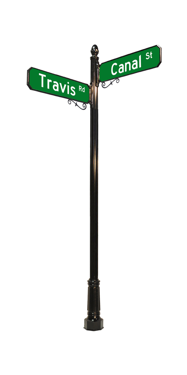 4 inch street sign pole with acorn finial