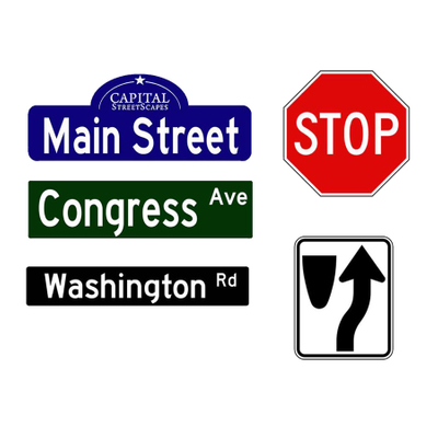 decorative traffic, wayfinding, and street signs