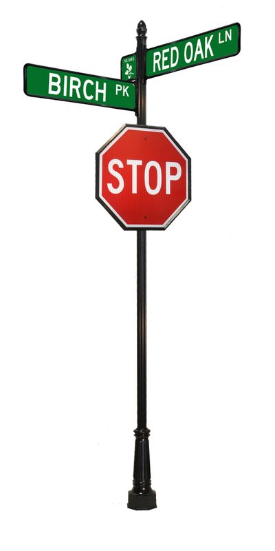 decorative stop sign with street sign
