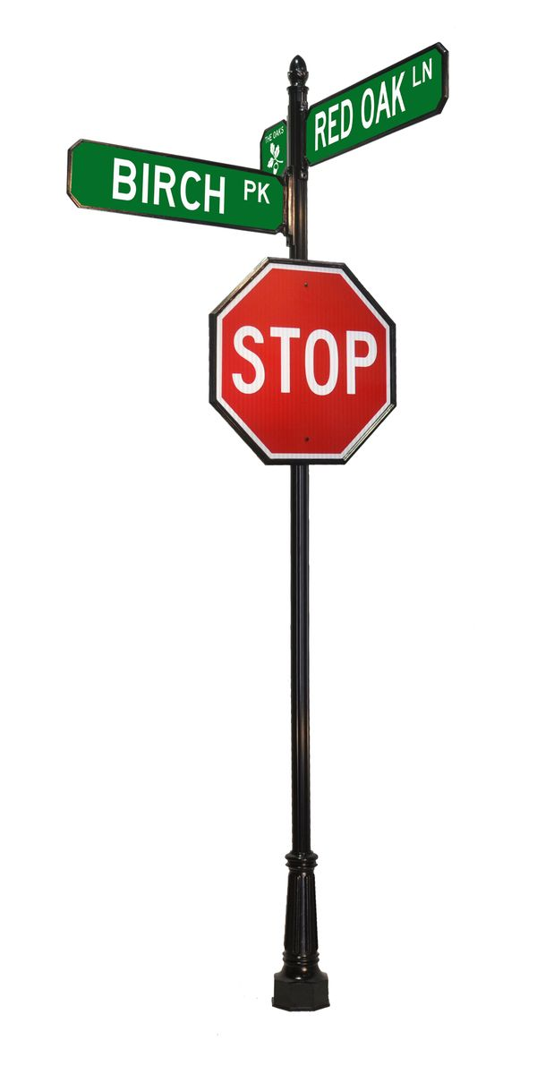 stop sign with street sign components