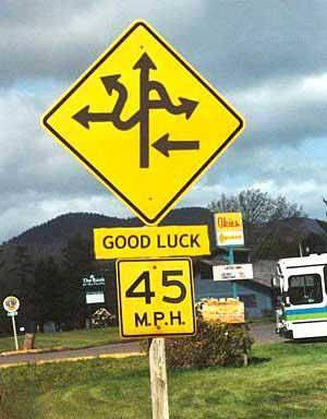 Confusing street Sign