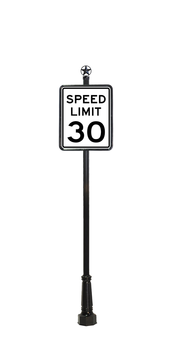 speed limit sign with star finial