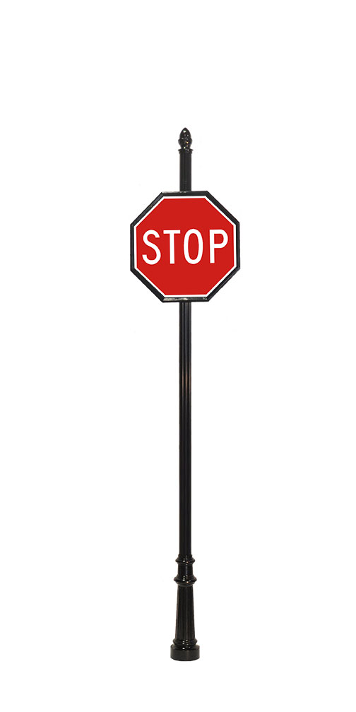 acorn finial on decorative stop sign