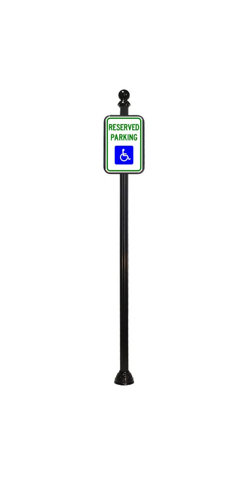 handicap parking sign with ball finial