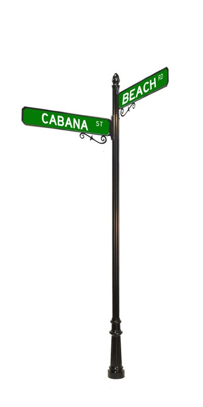 decorative street sign with acorn finial