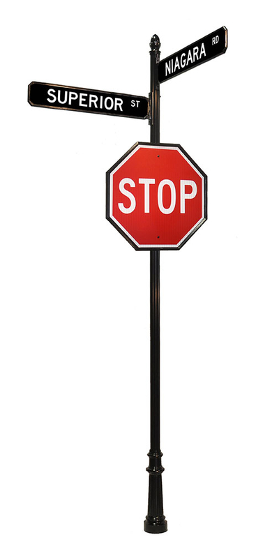 stop sign acorn finial and street signs