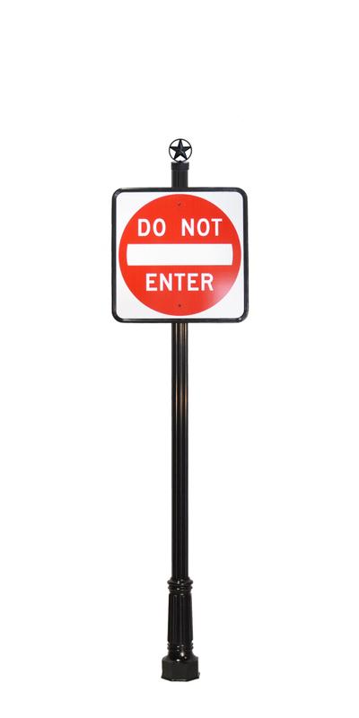 star finial on do not enter street sign