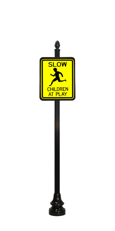 children at play sign with acorn finial