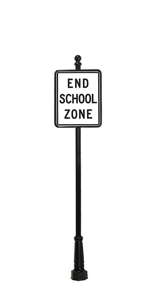 end school zone with ball finial
