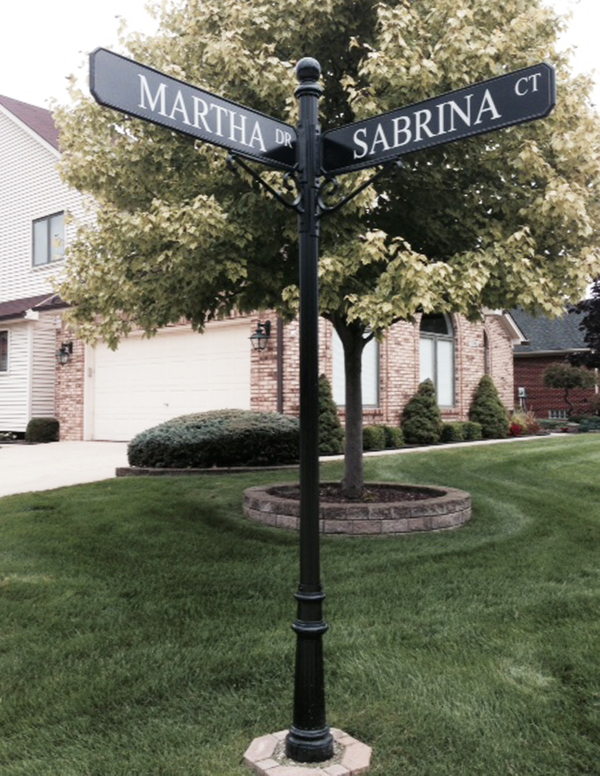 Black Ornamental Street Sign