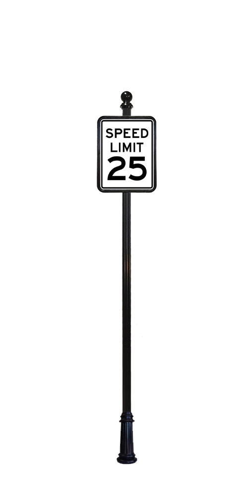 Ball finial on 25 MPH speed limit sign