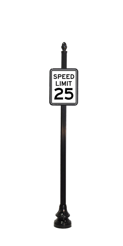 speed limit sign with acorn finial