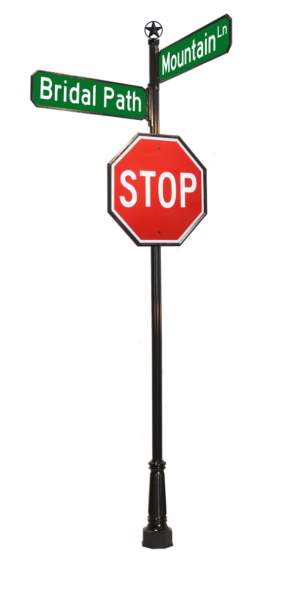 stop sign with star finial and street signs