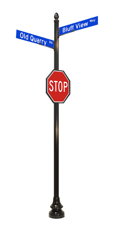 4 by 14 inch fluted sign pole for stop sign