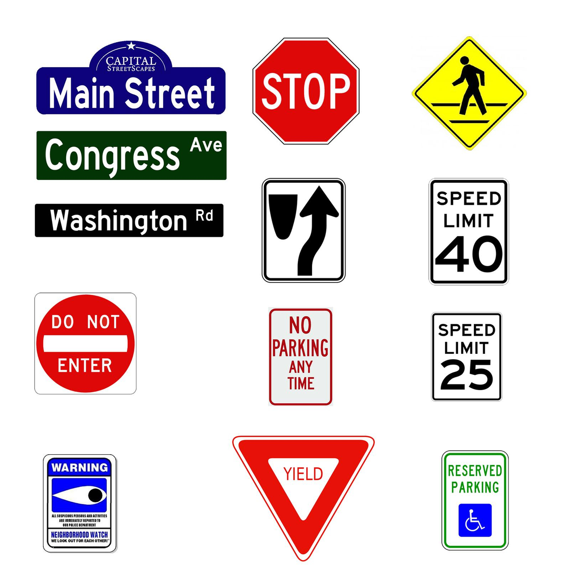 street and traffic signs from capital streetscapes