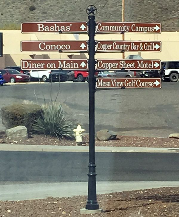 Wayfinding sign in Bagdad, AZ