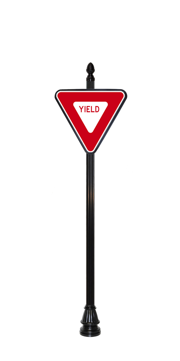 Yield Sign with Pineapple finial