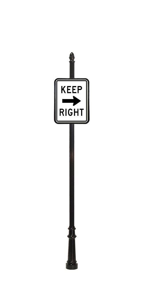 keep right directional sign with acorn finial