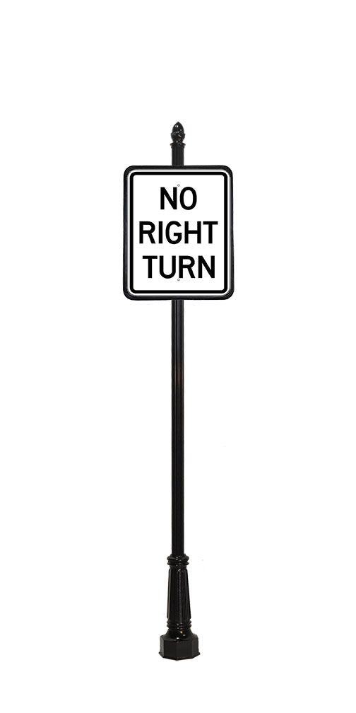 acorn finial on no right turn sign