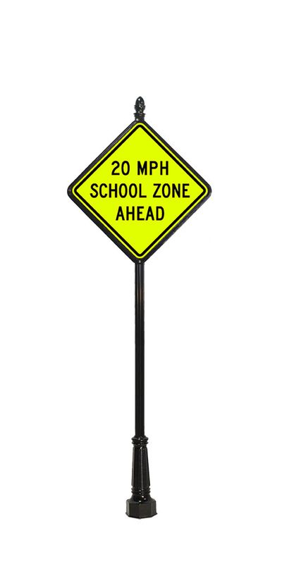 school zone traffic sign with acorn finial