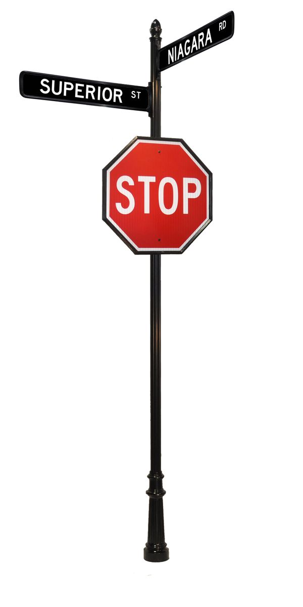 Stop sign acorn finial with street signs