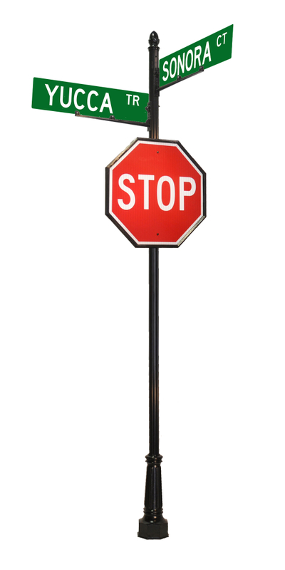 street and stop sign with acorn finial