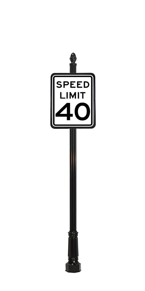 40 mph speed limit sign with acorn finial