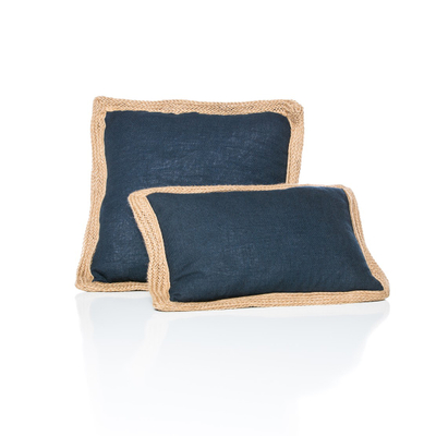 Navy Jute Pillow